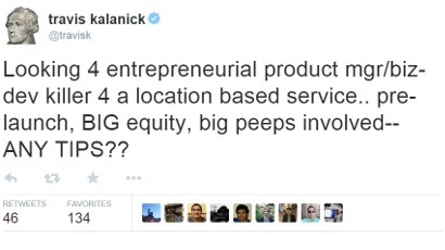 Travis Kalanick tweet about Uber app idea