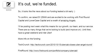 UberCab gets funded