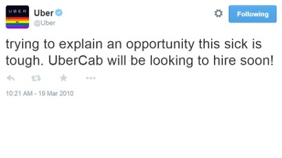 Travis Kalanick first tweet about UberCab startup
