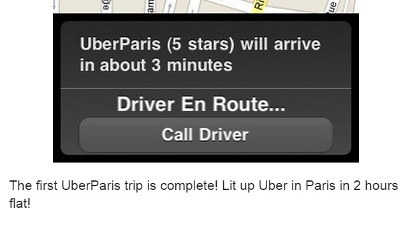 Uber launches a test run in Paris; December 10th 2010