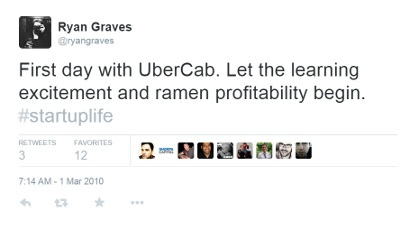 Tweet from Ryan Graves the day he started working at Uber